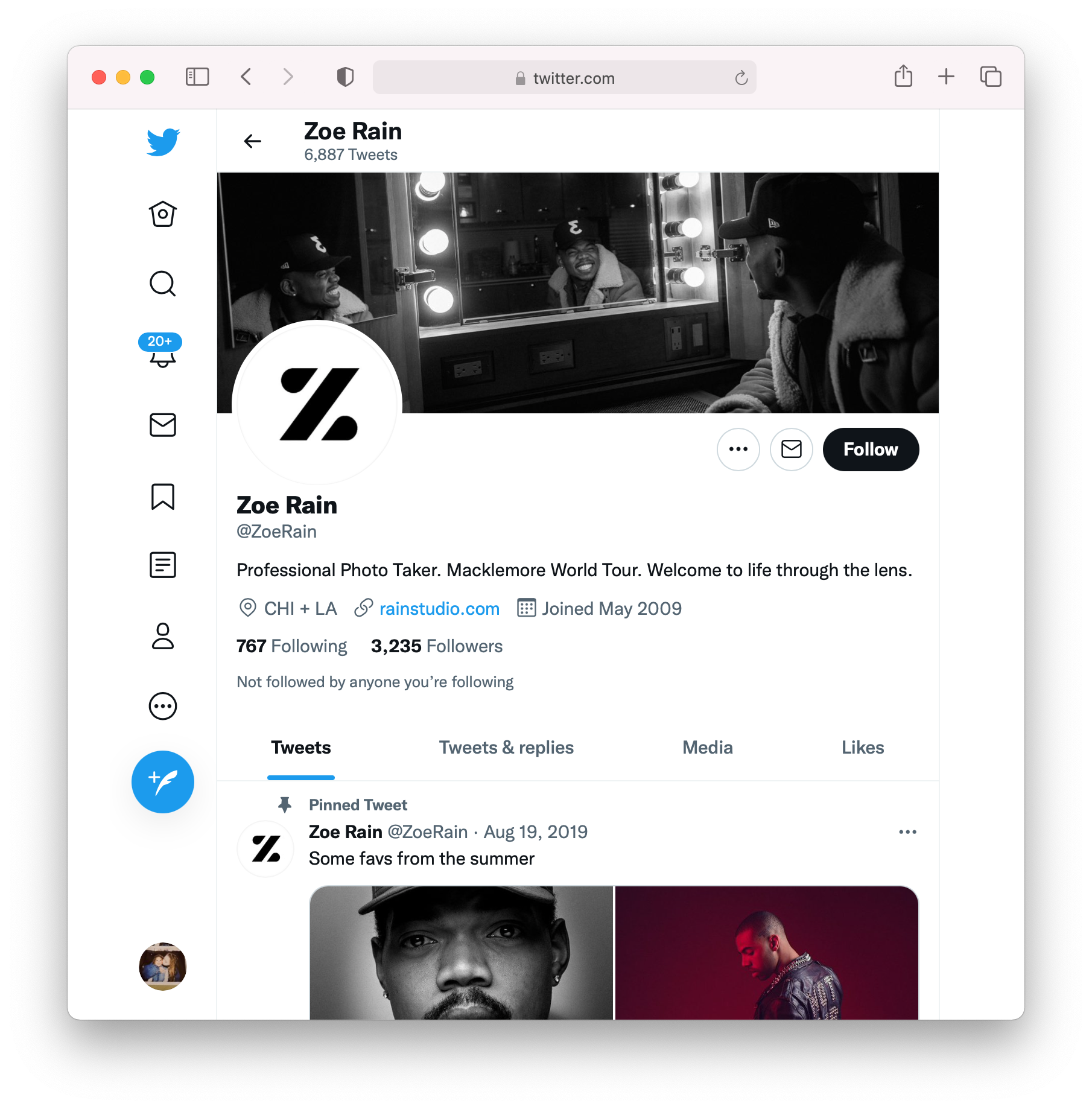 Screenshot of Zoe Rain's Twitter feed.