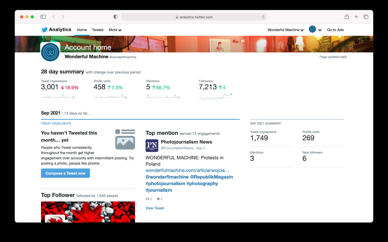 Wonderful Machine's Twitter analytics
