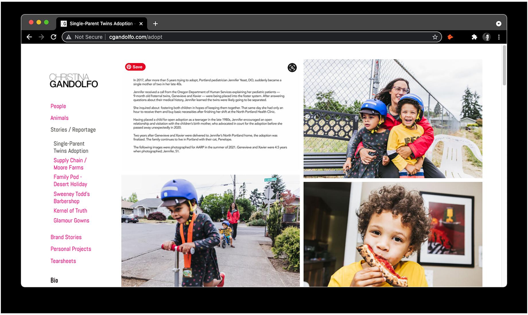 The final project edit on Christina Gandolfo's website by Jemma Dilag