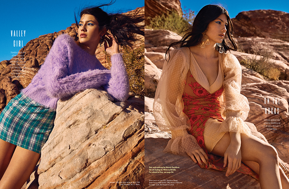 Fashion spread shot in Red Rocks, NV. Photographed by Sean Scheidt for Girls Life Magazine.