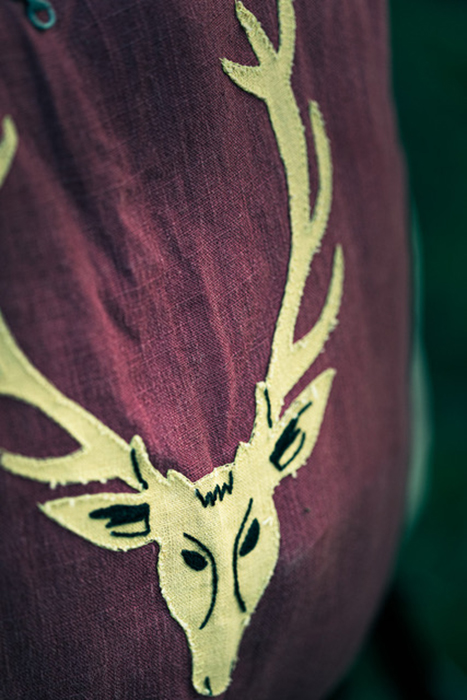 Legion of the Stag Crest being worn. Photographed by Simon Plant.