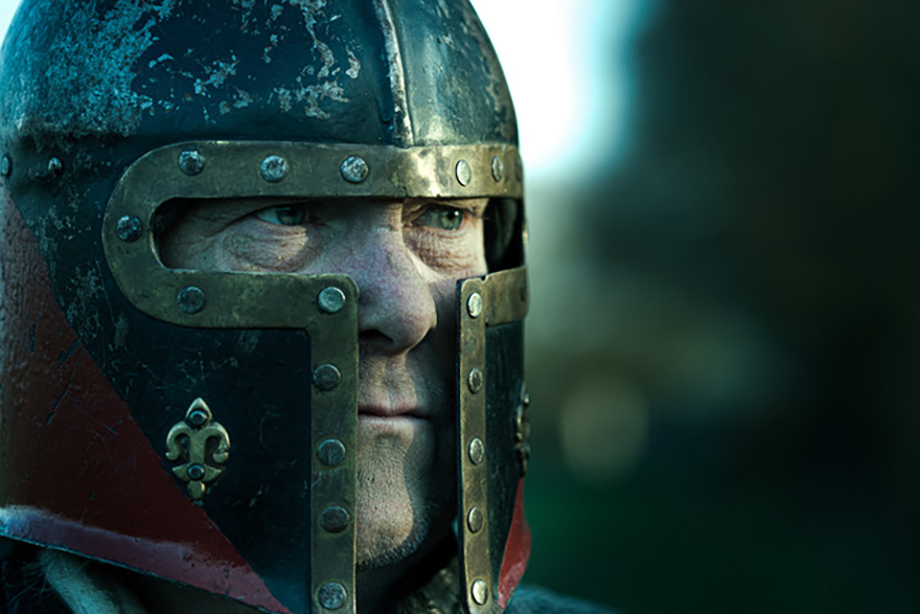A knight wearing a helmet. Photographed by Simon Plant.