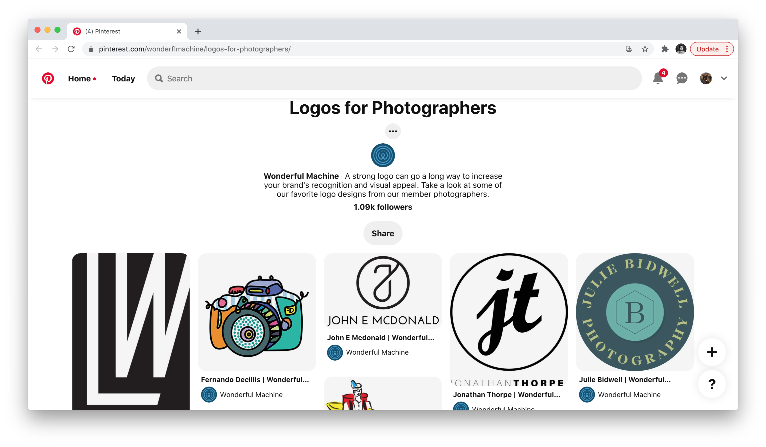 Logos for Photographers Pinterest page