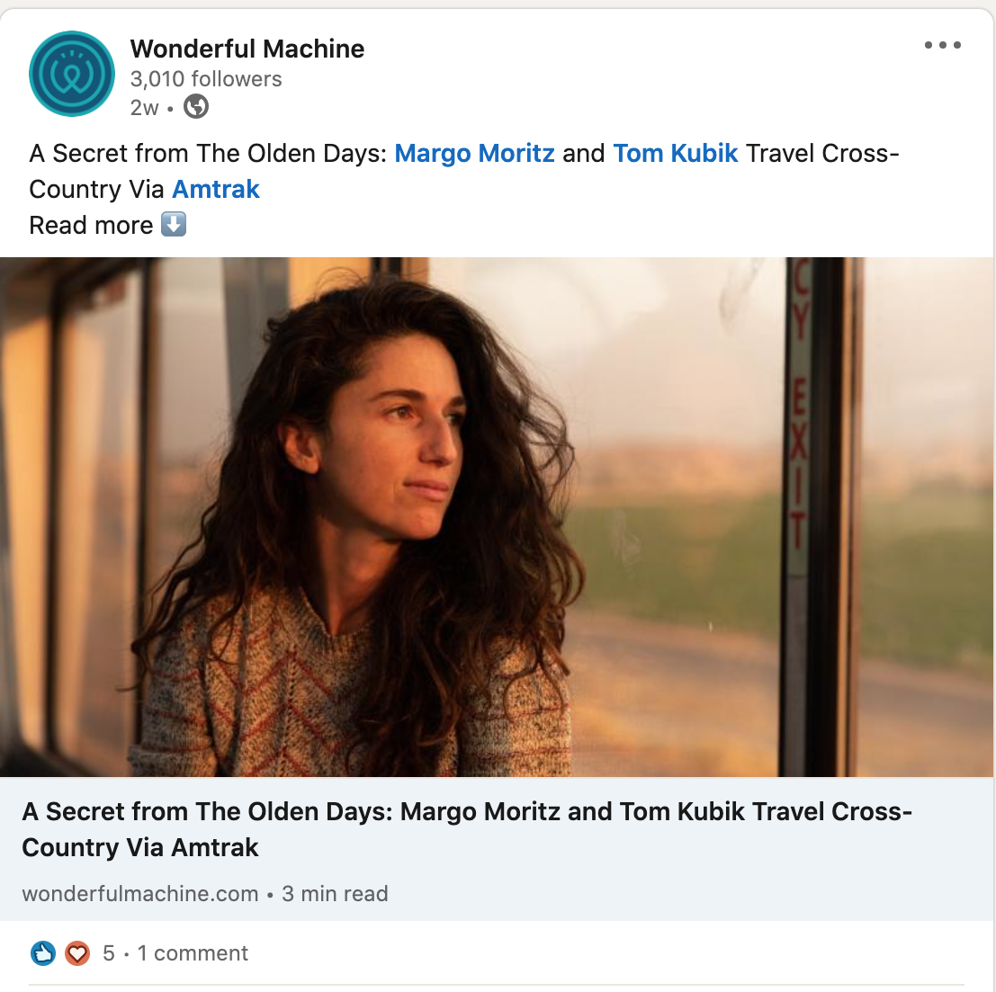 Margo Moritz's LinkedIn post about her cross country travels via train