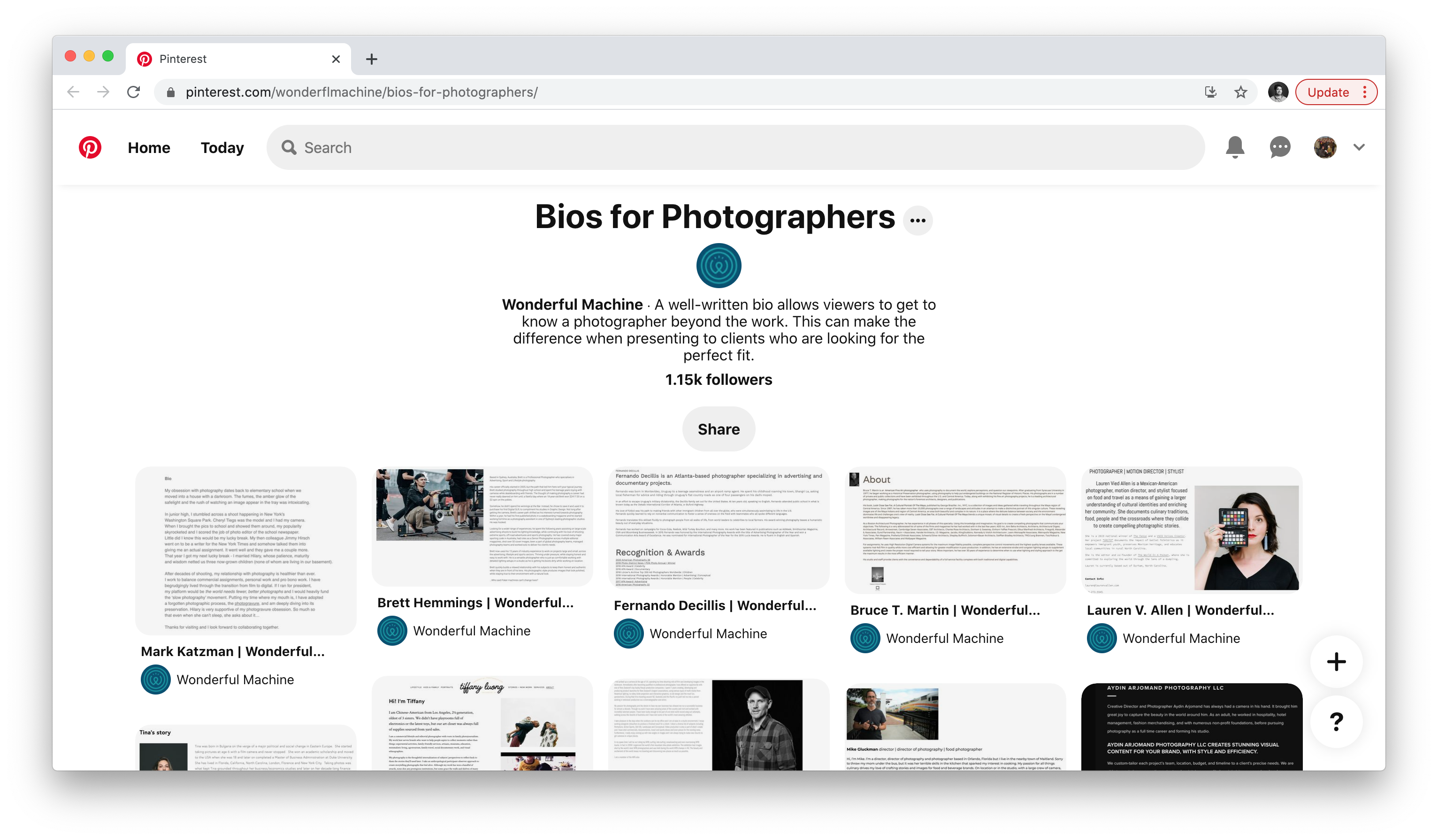 Wonderful Machine's Bios for Photographers Pinterest board