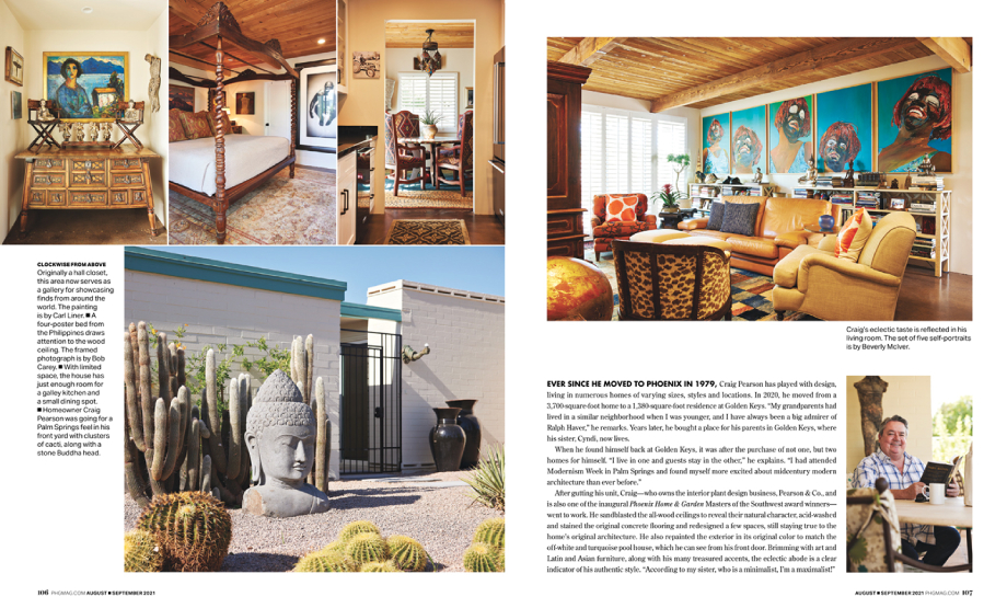 Tear sheet of Phoenix Home and Garden Magazine featuring Craig Pearson's home shot by Steve Craft