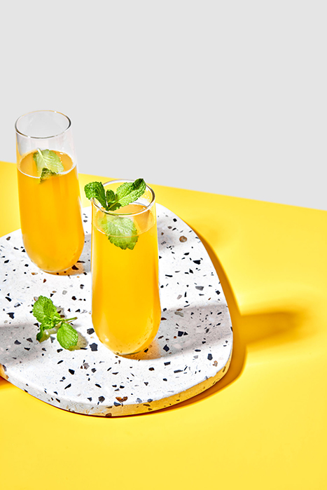 Peach Bellini.Photographed by Suzanne Clements for Delish Magazine.