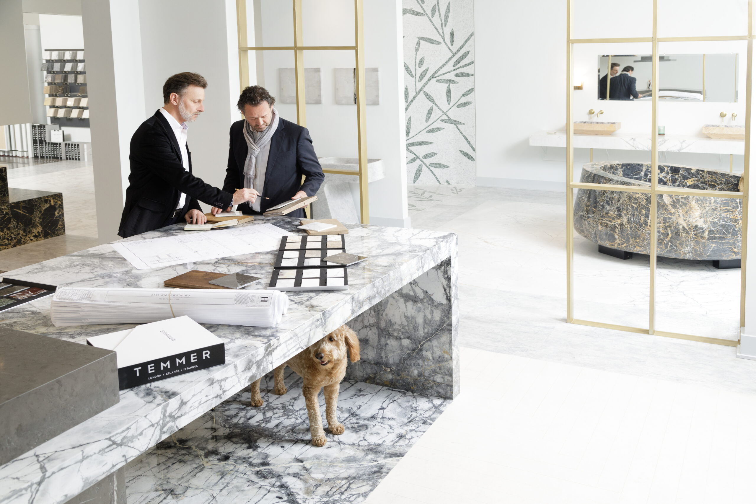 Patrick Heagney photographs two designers in a bright and airy marble room for Temmer Marble