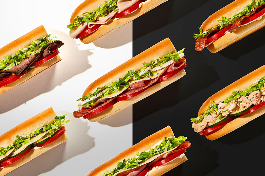 """""""The creative director wanted the sandwiches to look as if they were race cars., """" said Teri. Photography by Teri Studios, Teri Campbell, food photography, food photographer, commercial food photographer, commercial food photography, commercial food styling, commercial food stylist, sandwich shop, Jimmy John's, fastfood, sandwich chain, sandwich, sandwiches, food branding, phoode"""