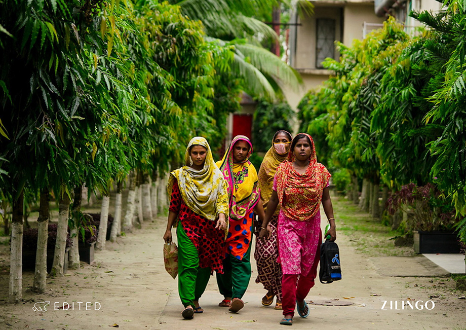 Zilingo employees in India wearing colorful fabrics. Photography by Tim Gerard Barker.