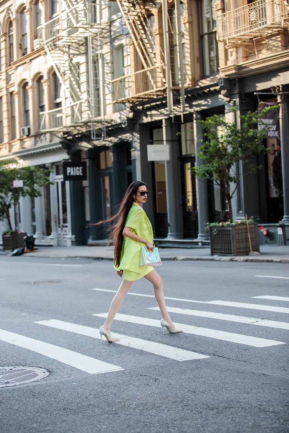 Farah Zulakiha crossing NYC street shot by Tina Boyadjieva for Pump magazine