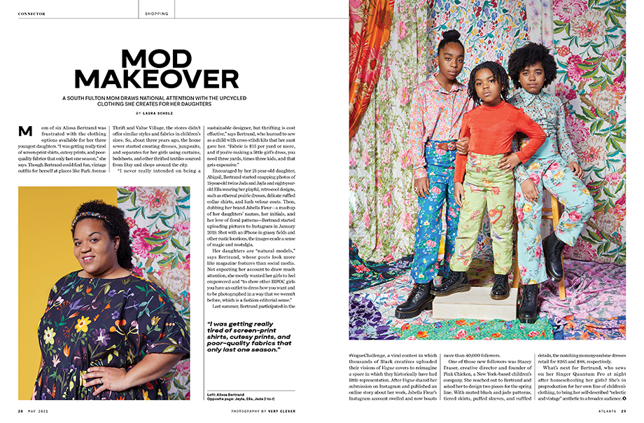 Tearsheet from Atlanta Magazine featuring Very Clever's images.