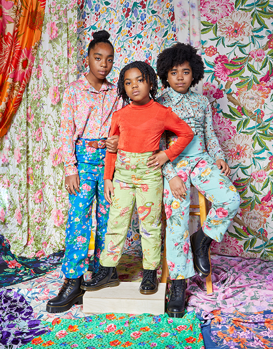 Alissa Bertrand's bold and vibrant prints modeled by her three daughters. Photographed by Very Clever for Atlanta Magazine