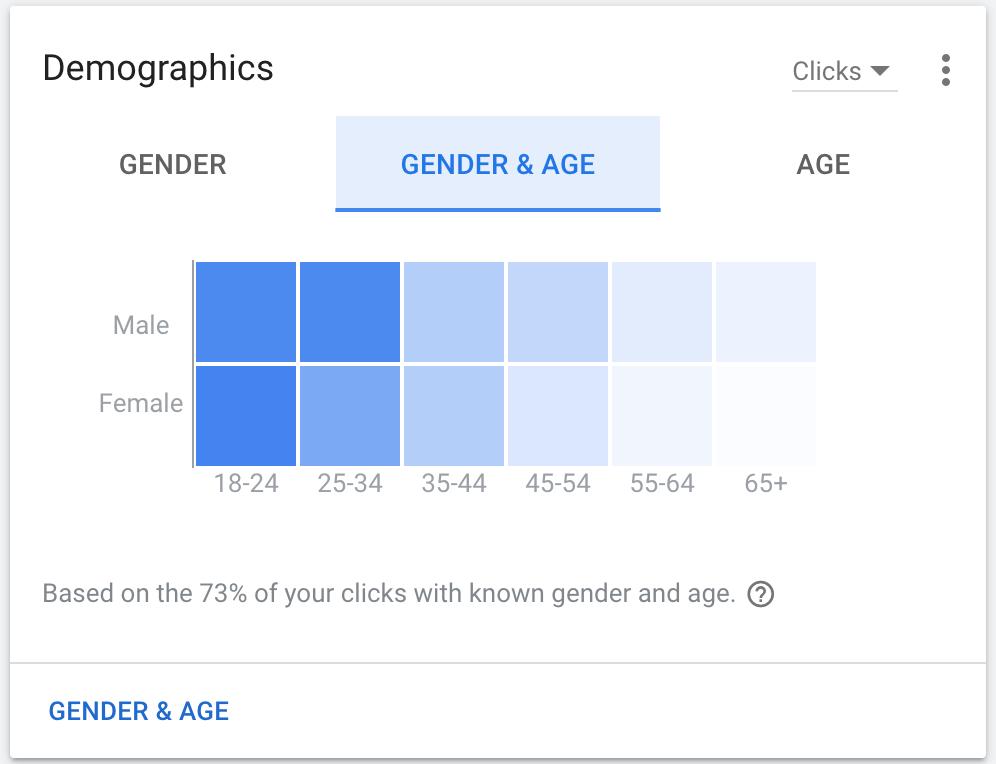 Age Demographics for WM Web Ads