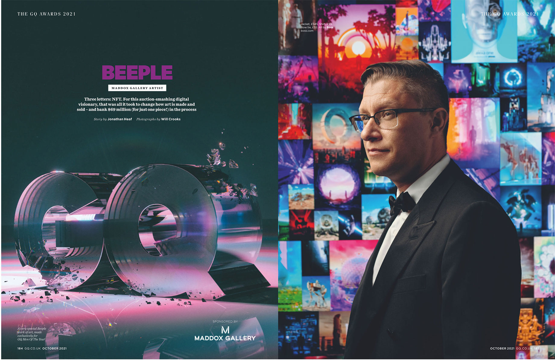 Tear sheet of British GQ Awards 2021 featuring Maddox Gallery Artist Beeple shot by Will Crooks