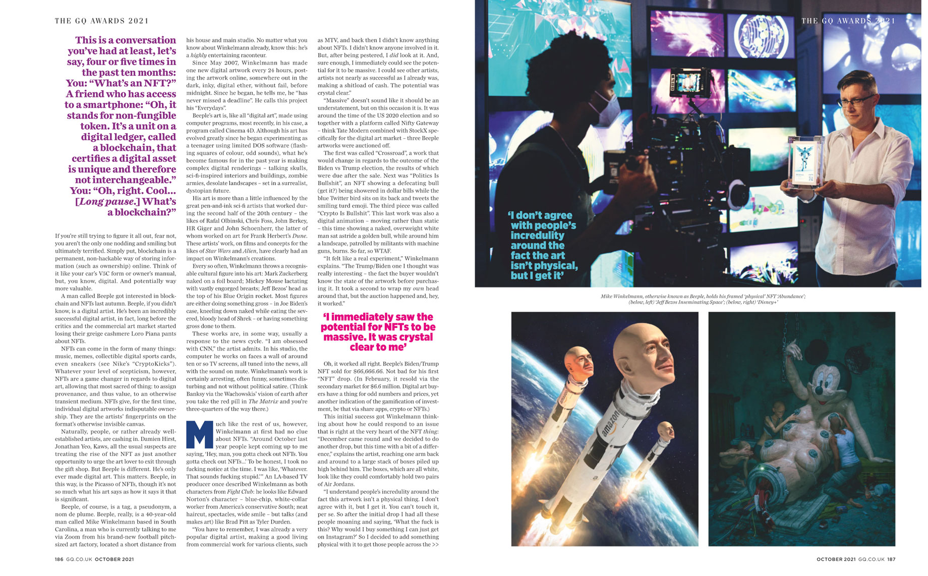 Tear sheet of British GQ article featuring artist Beeple shot by Will Crooks