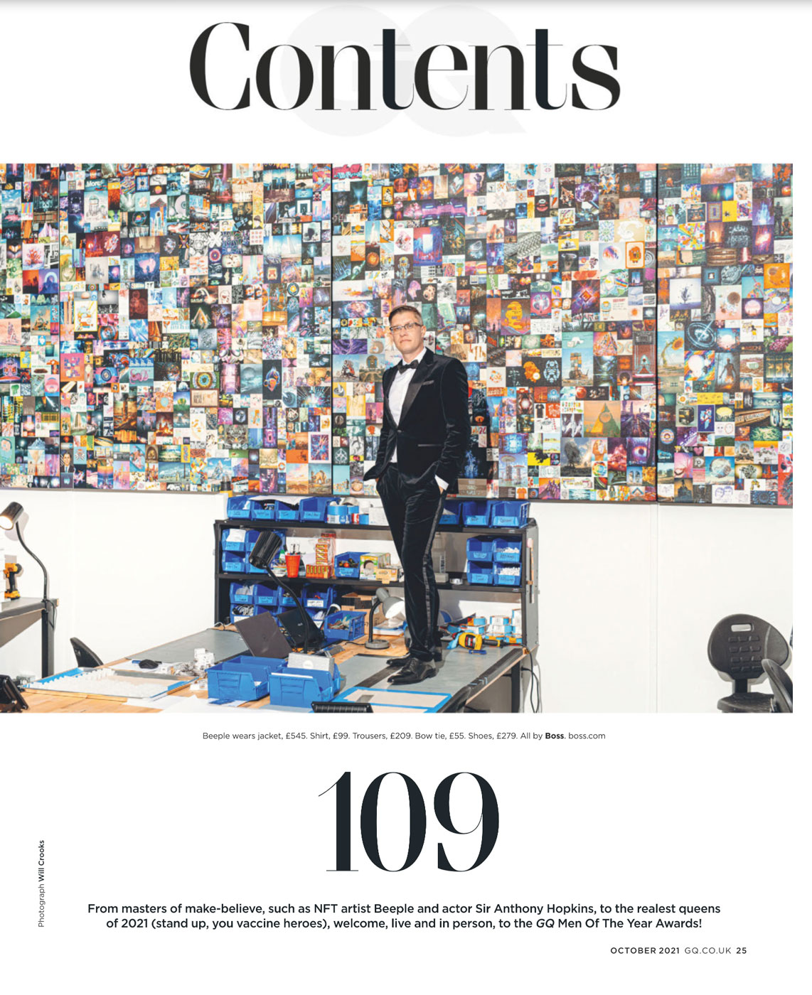 Tear sheet of British GQ contents page featuring artist of the year Beeple shot by Will Crooks