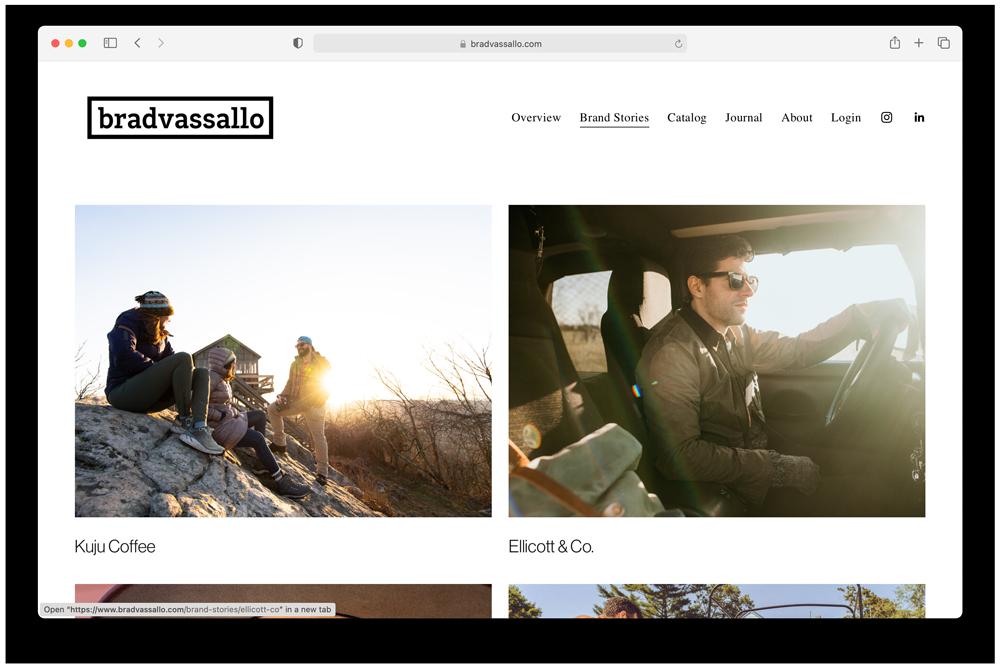 "Brad Vassallo's site after Wonderful Machine's Marketing Mentor program focused on ""brand stories"""