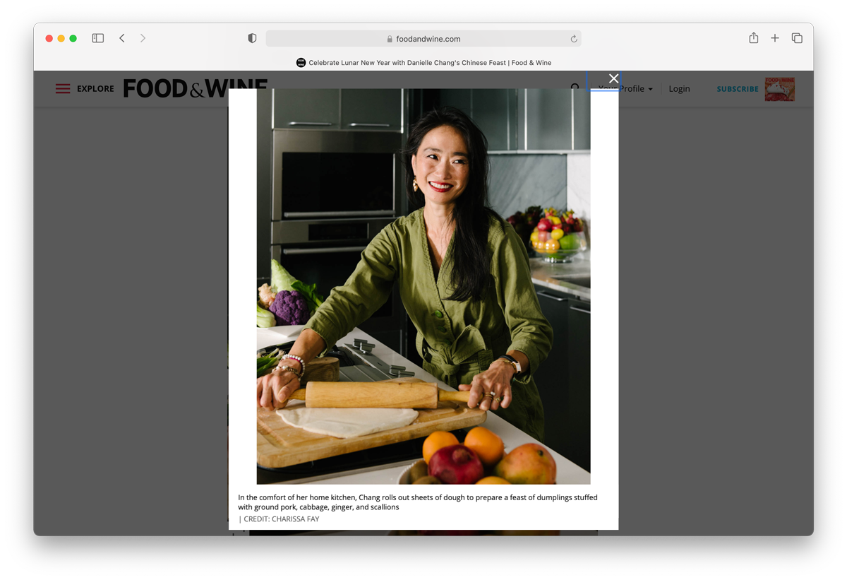 Charissa Fay's lifestyle image employed in Food & Wine's January 2021 article on the Lunar New Year