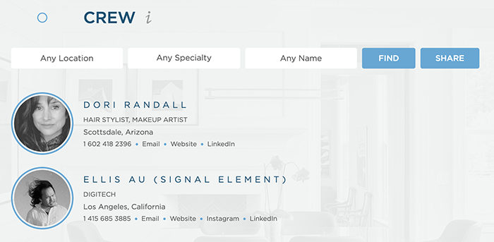 Wonderful Machine screenshot of crew page showing our favoriting feature