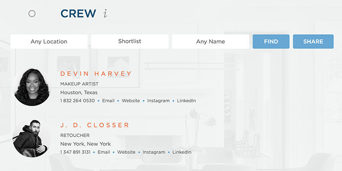 Wonderful Machine Screenshot of crew page showing our shortlist feature