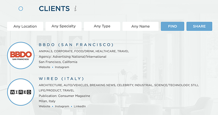 Wonderful Machine Screenshot of our Find Clients Page showing our favoriting feature