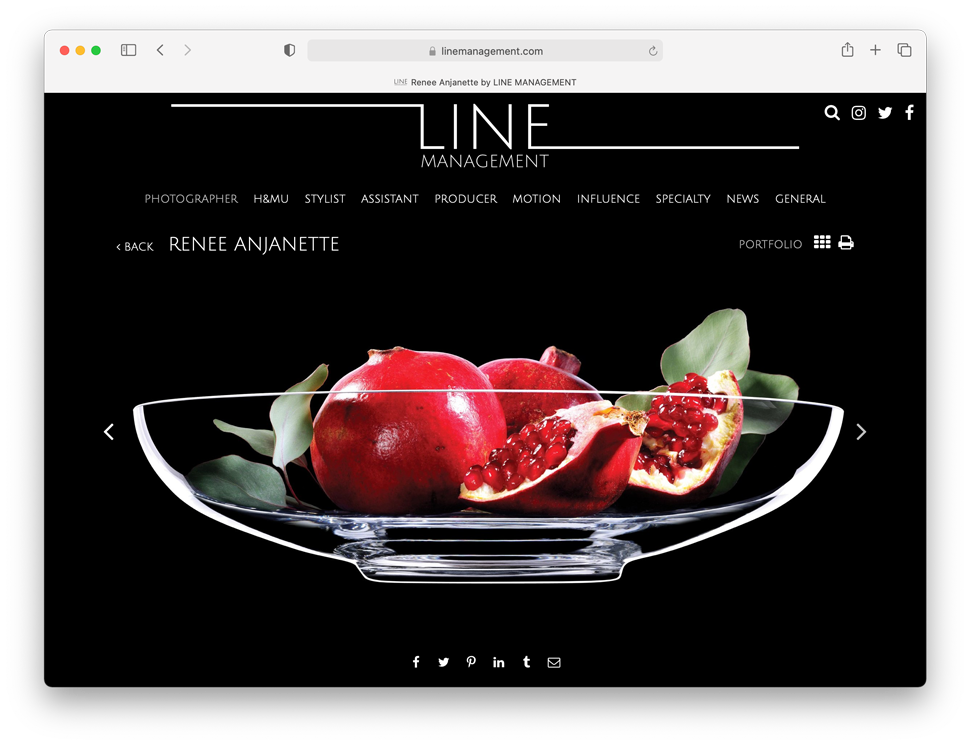 Chicago-based agency Line Management's page devoted to photographer Renee Anjanette