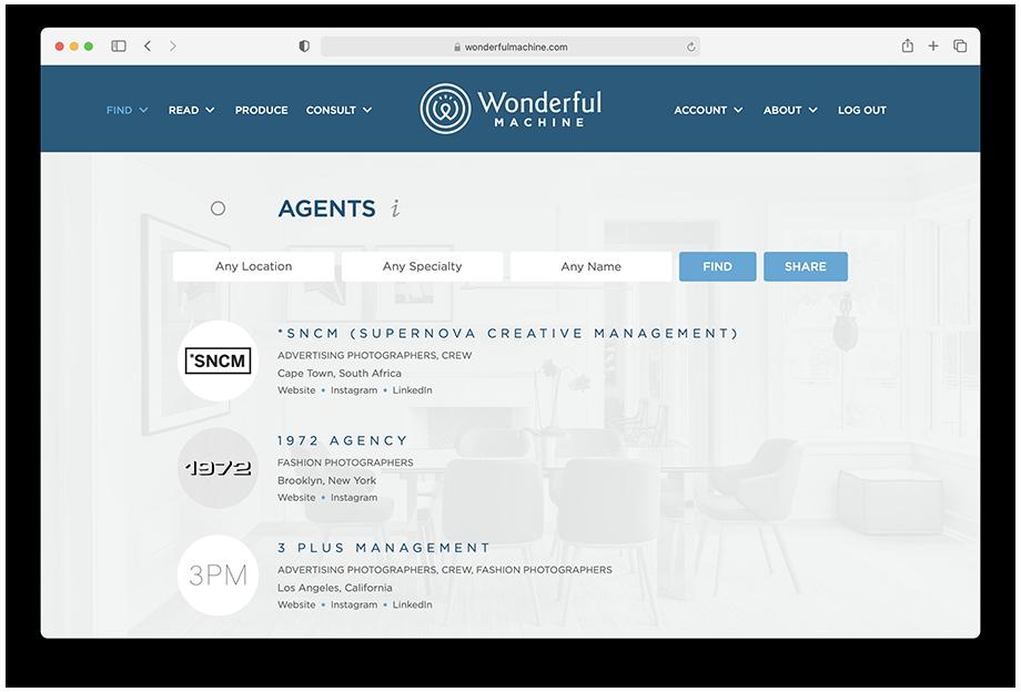 Wonderful Machine screenshot of Find Agents page