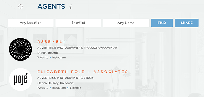 Wonderful Machine Screenshot of our Find Agents page which shows our shortlist feature highlighting each agents name