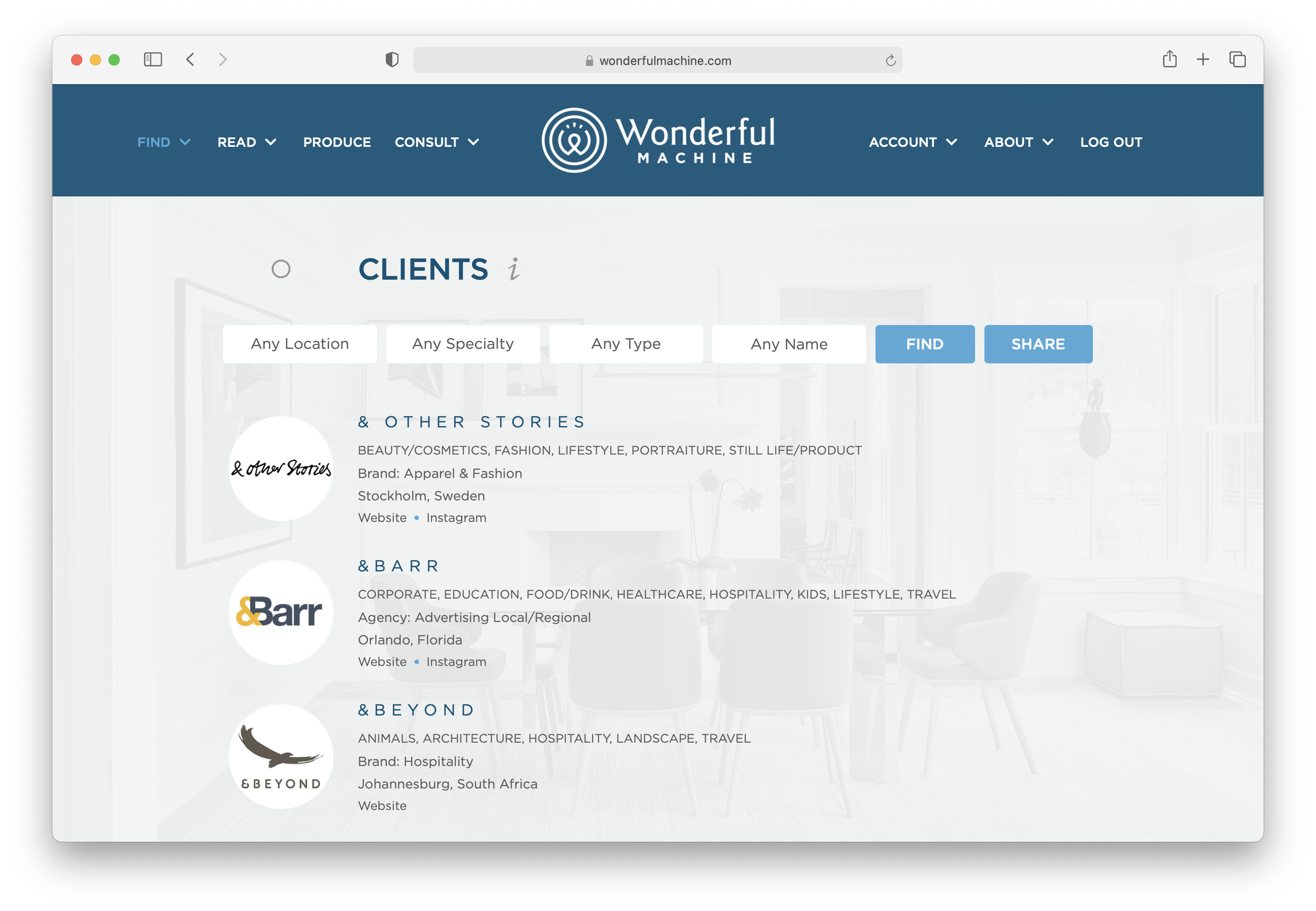Wonderful Machine screenshot of our Find Clients page