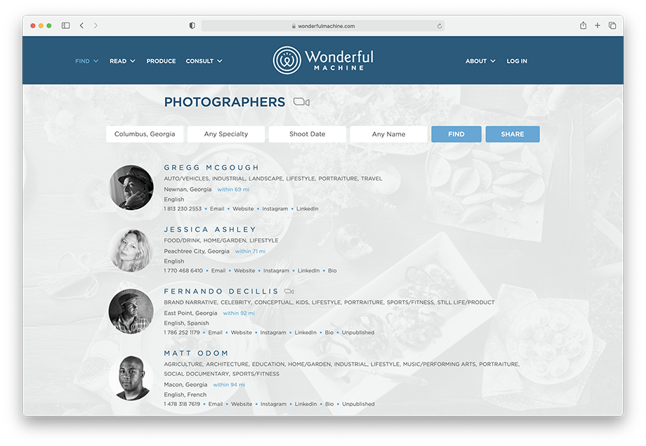 Screen shot of the Find Photographers search page on WonderfulMachine.com.
