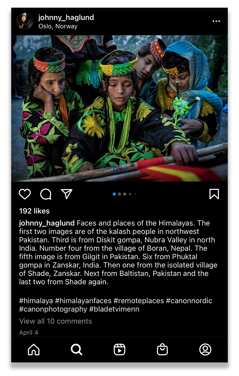 Screenshot from Johnny Haglund's Instagram