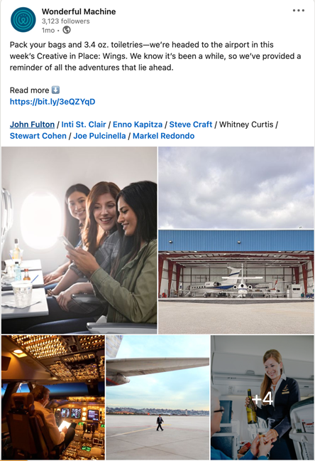 Wonderful Machine's May 2021 LinkedIn post following our Creative In Place: Wings Emailer