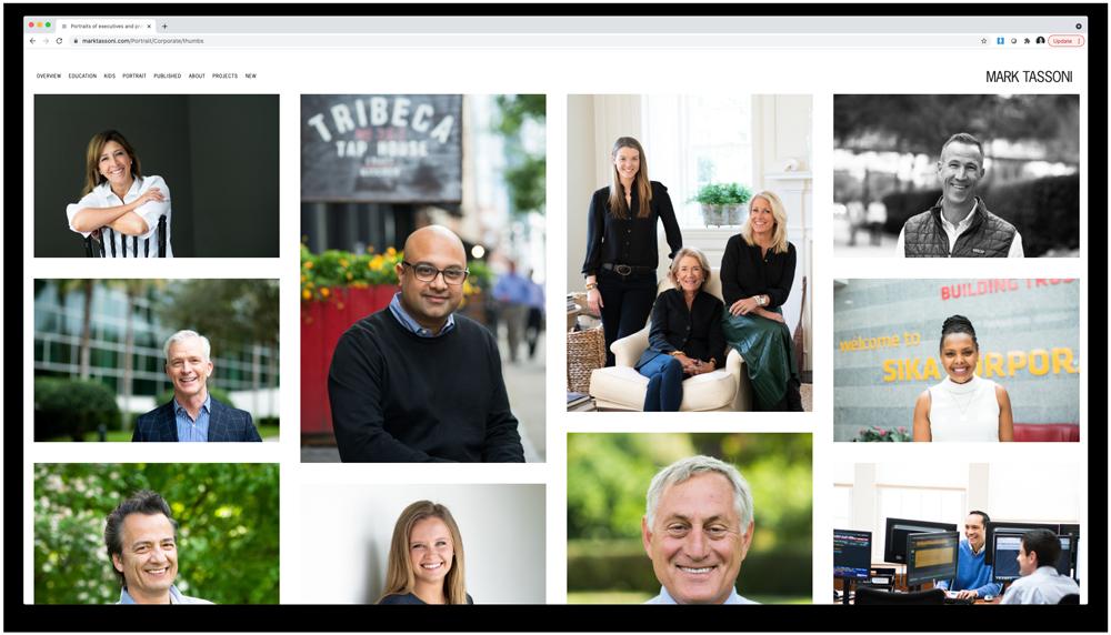 Corporate portrait gallery on Mark Tassoni dot com after the web edit