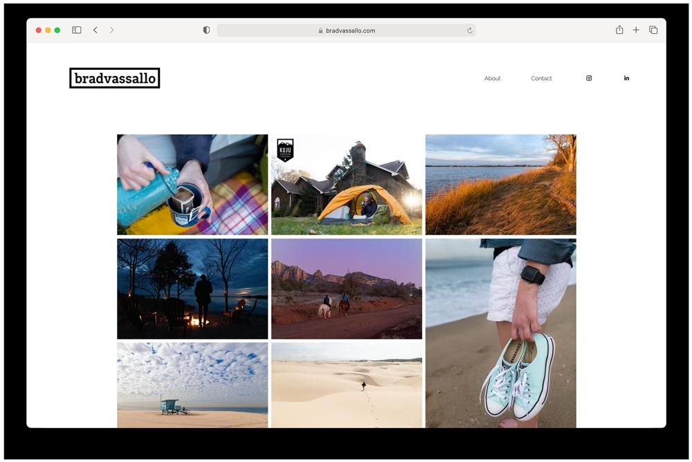 Brad Vassallo's site's main page before he began Wonderful Machine's Marketing Mentor program
