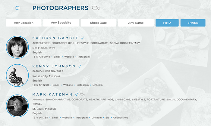 Screenshot showing example of our favoriting feature on the Find Photographers search page of WonderfulMachine.com.