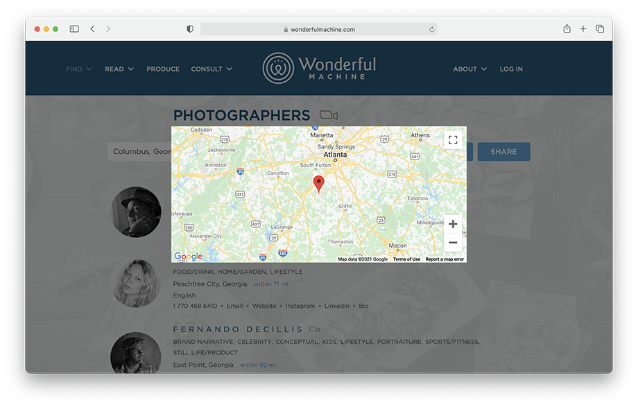 Screenshot showing example of our map feature on the Find Photographers search page of WonderfulMachine.com.