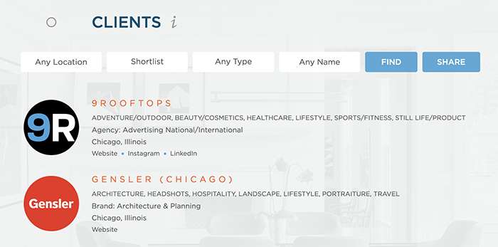 Wonderful Machine screenshot of our Find Clients page showing our shortlist feature
