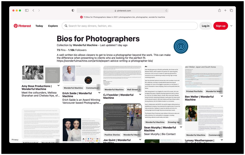Wonderful Machine's popular Bios for Photographer collection on Pinterest Social media