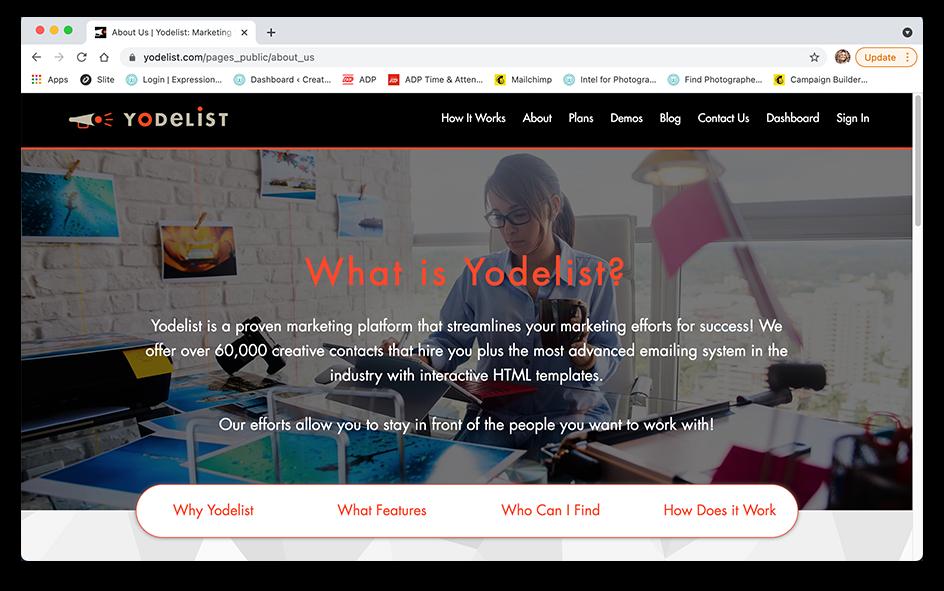 Screenshot of Yodelist website