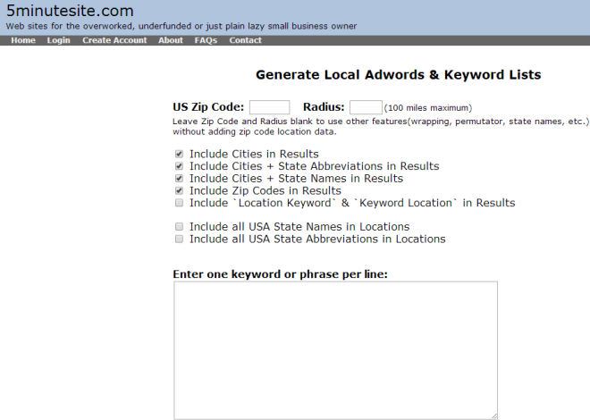 5minutesite Local SEO Keyword Generator Tool
