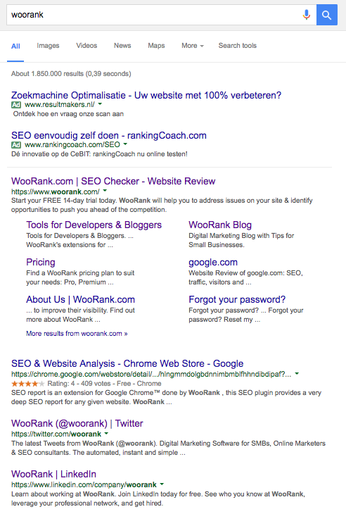 WooRank social media pages in SERP