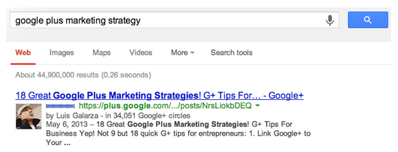 A Google Plus Full Post Ranking First On Google Search