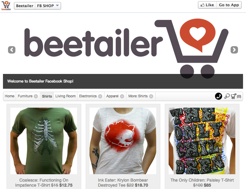 A Sample Beetailer Facebook store