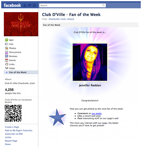 A Sample Screenshot of the Fan of the Week Facebook App