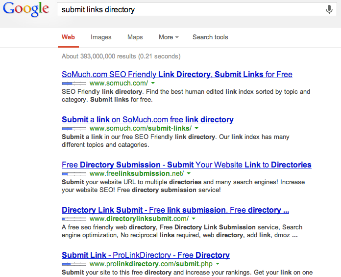 A Search for the Title Submit Links Directory