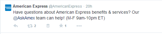 American Express Tweet About Their Customer Support Team On Twitter