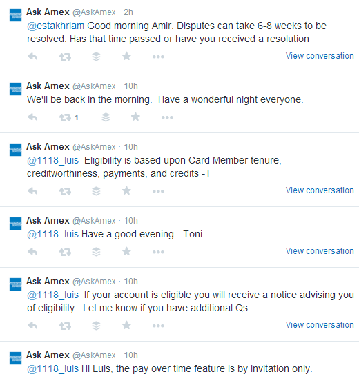 AmericanExpress Twitter Engagement With Customers