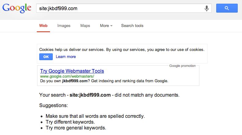An Example of a Banned Directory Indexed Status in Google Search