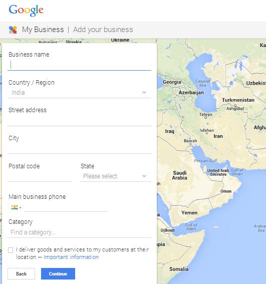 Formulario de información comercial en Google My Business